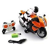 Andifany 2,4 Ghz Rc Motorrad Stunt Drift Musik Led Licht Rc Motorrad Modell Spielzeug Fern Bedienung Motor Spielzeug für Kinder Geschenk, Wei? -