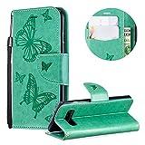 Wallet Brieftasche für Samsung Galaxy S10,Gurt Leder Handyhülle für Samsung Galaxy S10,Moiky Ziemlich Jahrgang Grün Schmetterling Geprägt Klappbar Stoßdämpfende Stand Handytasche
