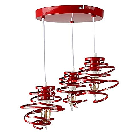 Modern 3 Way Gloss Red Metal Double Ribbon Spiral Swirl