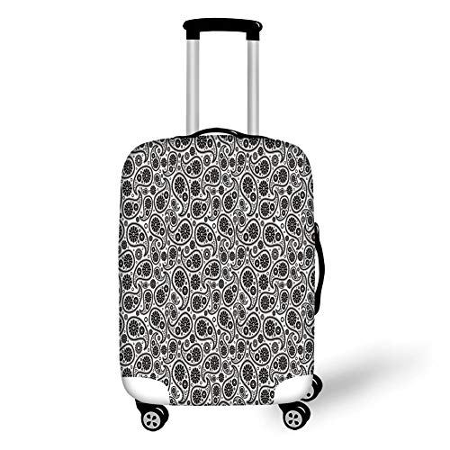 Travel Luggage Cover Suitcase Protector,Paisley Decor,70s 60s Theme Design with Floral Geometrical Details Circle Backgrounded,Black and White,for Travel,S Paisley Floral Short