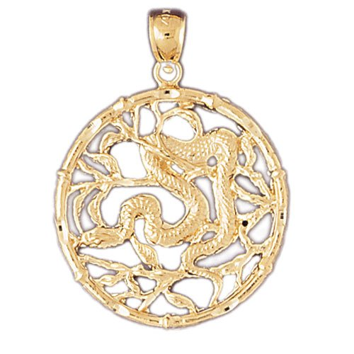 JewelsObsession 's 14 K Gelb Gold 37 mm Chinese Zodiacs - Schlange Charm Anhänger - Charm Snake Chinese Zodiac