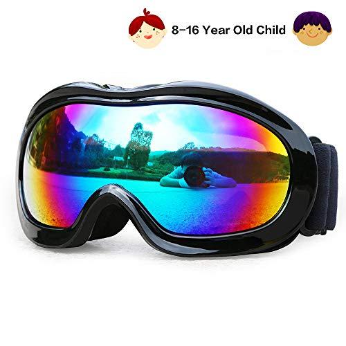 JamieWIN Kinder Motorrad Motocross Schutzbrillen Doppellinse Dreckiges Fahrrad ATV Brille UV-Schutz für Sport für die Jugend(Schwarz)