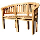 ASS Teak XL Bananenbank Gartenbank Parkbank Sitzbank 2-Sitzer Bank Gartenmöbel 120cm Holz Sehr Robust Model JAV-Coco von