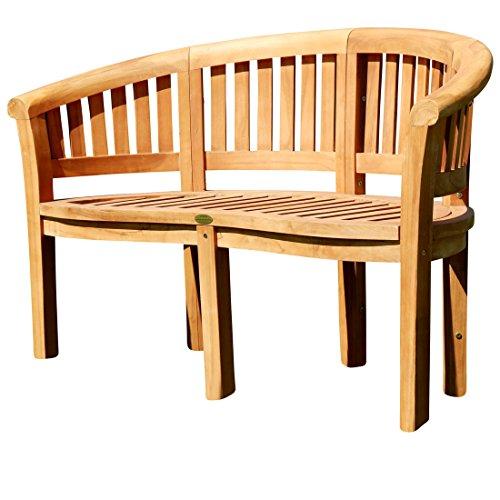 gartenbank teakholz 2 sitzer ASS Teak XL Bananenbank Gartenbank Parkbank Sitzbank 2-Sitzer Bank Gartenmöbel 120cm Holz Sehr Robust Model JAV-Coco von