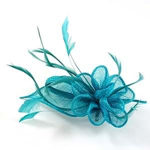 rougecaramel - Accessoires cheveux - Broche fleur ou pince fleur en sisal pour mariage cérémonies - turquoise