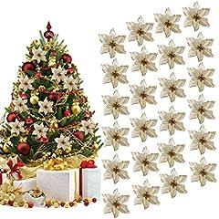Idea Regalo - Ornamento Di Albero Di Natale, Outgeek 24Pcs Glitter Fiore Artificiale Fiori Di Albero Di Natale Ornamento Di Decorazione Fiore Falso Di Natale