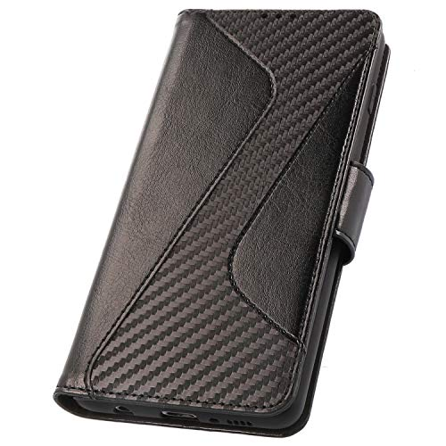 PULSARplus Tasche für Samsung Galaxy S10 Klapphülle, Hülle Schwarz Carbon Design, Handyhülle dünn Schutzhülle 360 Grad Rundumschutz Handytasche klappbar kompatibel mit Samsung Galaxy S10
