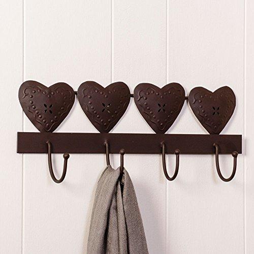 Dibor - french style accessories for the home appendiabiti in ghisa da parete con quattro cuori, dimensioni 40 x 17 x 6 cm