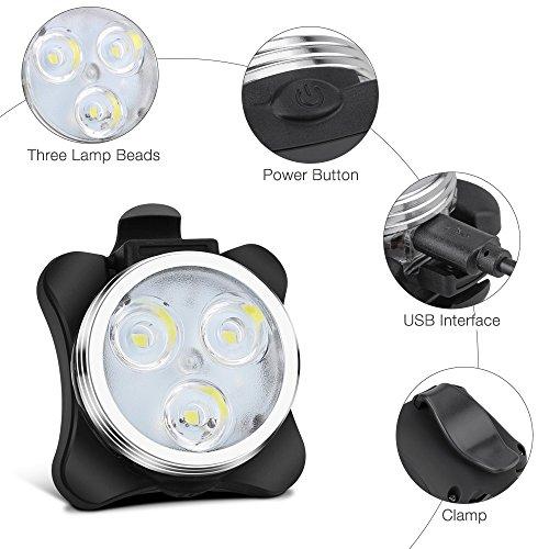 Fahrradlicht LED Set, Furado Fahrradlicht Fahrradbeleuchtung, Wasserdicht LED Fahrradlampenset, USB Wiederaufladbare Frontlicht und Rücklicht mit 4 Licht-Modus & 2 USB Kabel für Fahrrad Radfahren - 3