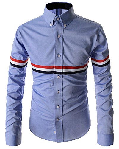Chemise Manches Longues Homme Casual Shirt Tops 8741 Azur