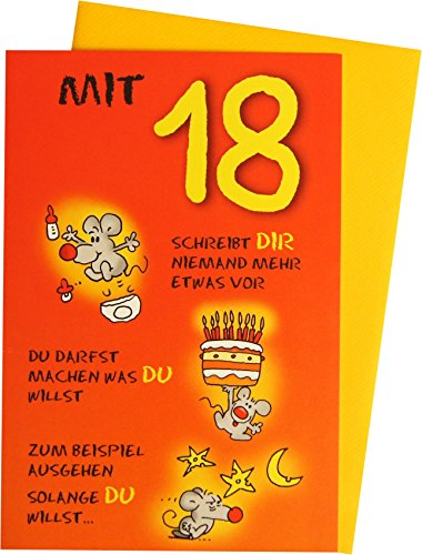 Glückwunschkarte Grußkarte 18. Geburtstag 271020