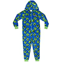 Vanilla Underground Minecraft Creeper Blue Boys Kids Long Sleeved Hooded Zip Onesie Pyjama