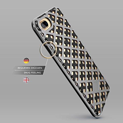 Urcover® Apple iPhone 7 Plus / 8 Plus Hülle Mesh Case 2-teilig aus PC & TPU in Weiß / Rose Gold Dual Layer Zubehör Tasche Back-Case Handy-Hülle Cover Schutz-Hülle Schale Schwarz / Dunkel Blau