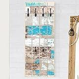 Bilderwelten Wandgarderobe Holz - Maritime Planks - Haken Schwarz - Hoch, Garderobenpaneel Holzpaneel Kleiderhaken Flurgarderobe Hakenleiste Holz Hängegarderobe inkl. Haken, Größe HxB: 100cm x 40cm