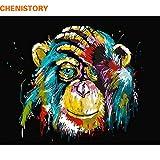 CUFUN Art - Peinture par numéros Kit DIY Pré-Imprimé Toile Peinture À l'huile Cadeaux pour Enfants Adultes Décoration Murale sans Cadre 40x50cm (Orang-outan coloré)