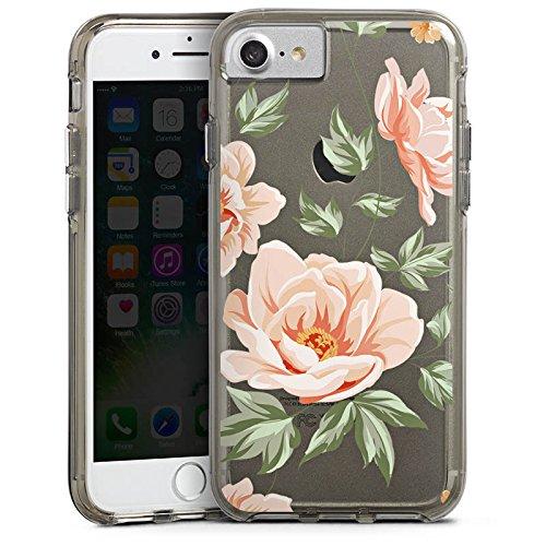 Apple iPhone 8 Bumper Hülle Bumper Case Glitzer Hülle Blume ohne Hintergrund Flower Bumper Case transparent grau