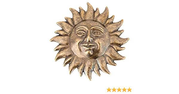 arterameferro Sole Decorativo da Parete in Ottone Brunito 22 cm Ingresso Casa Giardino