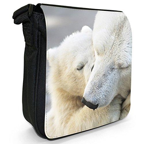 Orsi polari piccolo nero Tela Borsa a tracolla, taglia S Polar Bear Cub Sleeping