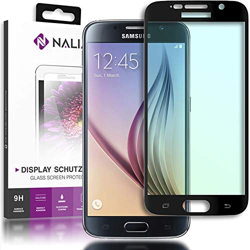 Nalia pellicola protettiva vetro temprato glass screen protector copertura per smartphone samsung galaxy s6 - transparente (nero)