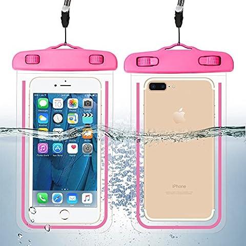 Guzack universelle Pochette téléphone étanche, Étanche Certifiée IPX8 pour le téléphone portable jusqu'à 6 pouces, pour iPhone 7 plus, iPhone7, 6 plus, 6s, 5s, Samsung Galaxy s6 (Rose Rouge, 1 Pack)