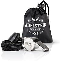 ADELSTEIN Premium Edelstahl Trillerpfeife mit Halsband und praktischer Tragetasche | Profi Schiedsrichter Pfeife für Sport Fußball und Vieles Mehr | Signalpfeife