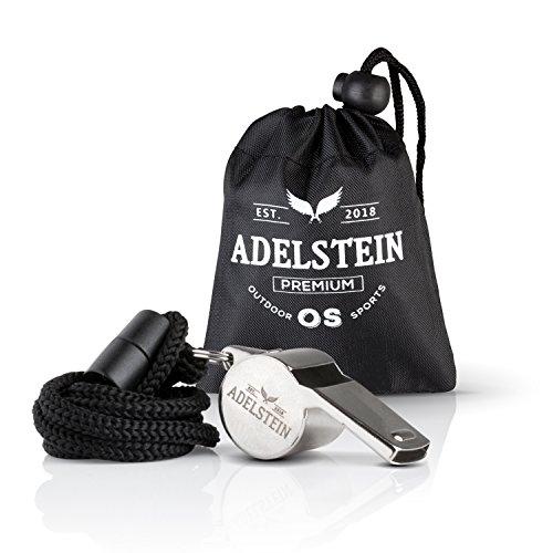 ADELSTEIN® Premium Edelstahl Trillerpfeife mit innovativer PP-Kugel | Profi Schiedsrichter Pfeife für den Sportunterricht & Fußball | Notfall Signlapfeife (Silber)