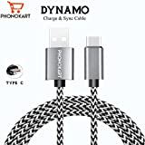 6ft ( 2 meter) long Nylon Braided Original Phonokart Tough Dynamo Type C Cable with Super fast charging up to 2.4 Amps for Samsung, Lenovo, Lumia, OnePlus, Xiomi MI, HTC, LG, Nexus, Motorola Moto G, ASUS, Coolpad, Sony, Micromax, Honor, Intex, Meizu, Karbonn and all other mobile devices and Tablets