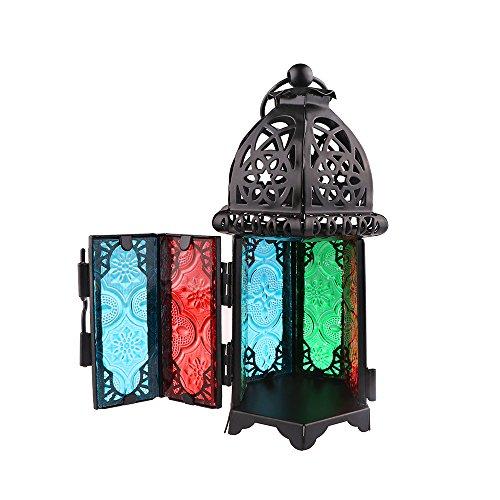 Portavelas Retro Vintage viento vela, regalos y decoración de cristal multicolor marroquí de Metal estilo Retro para Navidad boda de flores