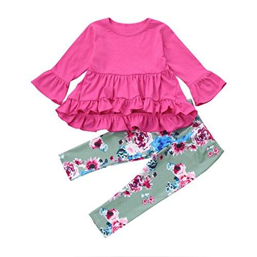 OverDose 2pcs Mädchen Kinder Baby Mädchen Blumen Rüsche Outfits unregelmäßige Shirt Tops Kleid + lange Hosen Set Kleidung Set(2T,A-Rosa)