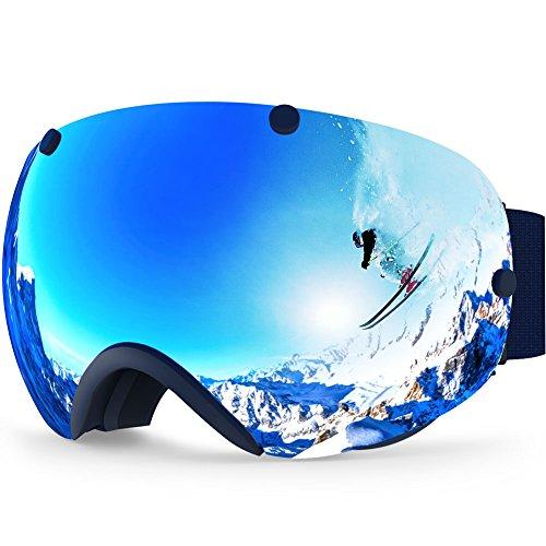 ZIONOR Maschera Professionale per Snowboard, Skate, motoslitta, Occhiali da Sci, Super grandangolare, Lente antinebbia, Unisex, da Adulti, 2300(Argento)