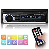 Bluetooth Autoradio, YOHOOLYO Auto Radio Freisprecheinrichtung Auto FM MP3-Player 1 Din USB/SD/Aux Anschluss mit Fernbedienung und ISO-Kabel (Schwarz-1)