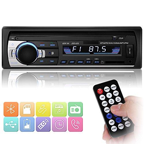 Bluetooth Autoradio, YOHOOLYO Auto Radio Freisprecheinrichtung Auto FM MP3-Player 1 Din USB/SD/Aux Anschluss mit Fernbedienung und ISO-Kabel (schwarz-1)