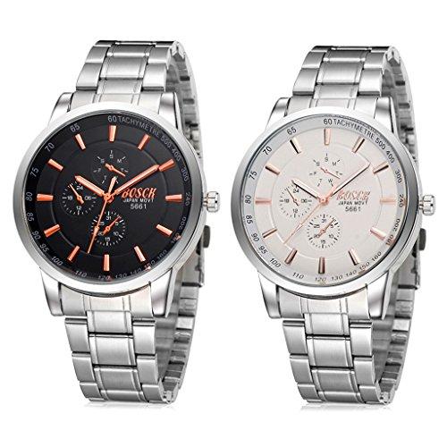 Unendlich U Fashion Herren Armbanduhren Schwarz/Orange Zifferblatt mit Chronograph Edelstahl Armband Wasserdicht Analog Quarz Uhren(2 Stück)