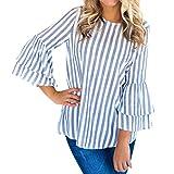 SEWORLD 2018 Damen Mode Sommer Herbst Strand Beiläufige O-Ausschnit Lange Aufflackernhülse Gestreiftes Top Casual Bluse Tops T-Shirt(Blau,EU-44/CN-L)