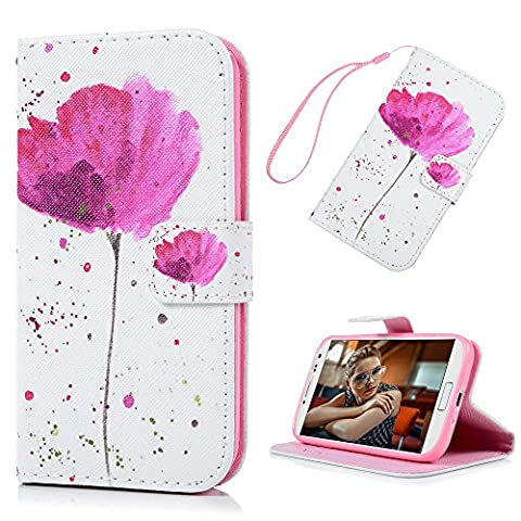 S4 Leather Case I9500 Wallet Case KASOS Premium PU Leather&Soft TPU Bumper Flip Purse Cover Hand Wrist Strap PU Rope Notebook Design Cash and Card Slots Change Pouch Shell Front Closure Magnetic Lock Kickstand Cradle for Samsung Galaxy S4