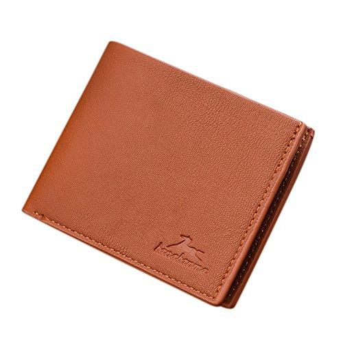 Die Geldbörse, Portemonnaie, Tasche Herren, Geldbeutel Geldbörse Multi Position in Leder PU Herren, zusammen mit Ein Geschenk, hellbraun