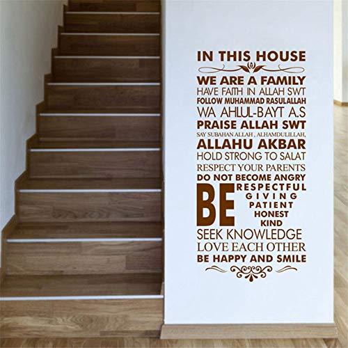 Zxfcczxf vinyl house rules decalcomania da muro adesivo da parete allah arabo citazioni home family decor adesivi in vinile wall art