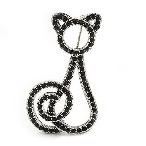 Broche en forma de gato con diamantes negro azabache con revestimiento de rodio