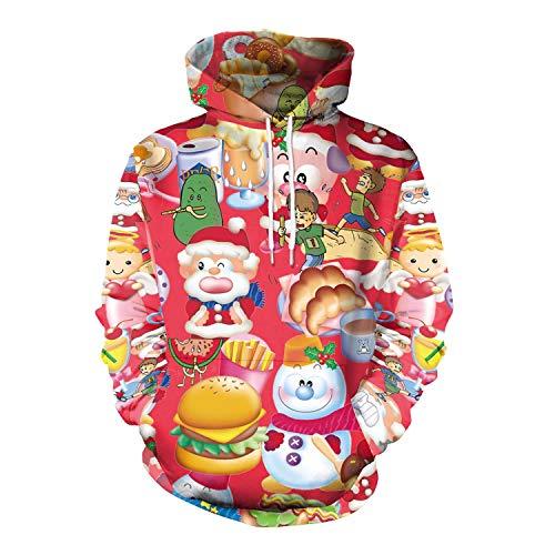 Damen Herren Sweatshirt Hoodies 2018 Europäische Und Amerikanische Erwachsene Weihnachtsmann Rundhals Langarm-Pullover, XL, Süße Weihnachten