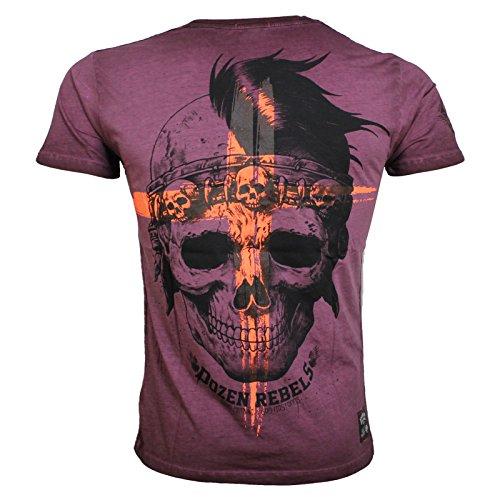 Yakuza Premium T-Shirt VINTAGE 200 burgundy washed (Vintage-t-shirt Steel)