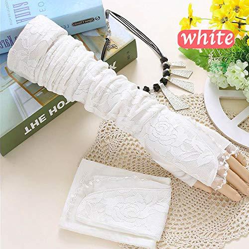 Frauen lange Spitze Sonnenschutzhandschuhe für Hochzeitsfeiern, Maskerade, Brautparty, Geburtstagsparty Kleid Zubehör (Weiße Fingerlose Spitzen Handschuhe Für Erwachsene)