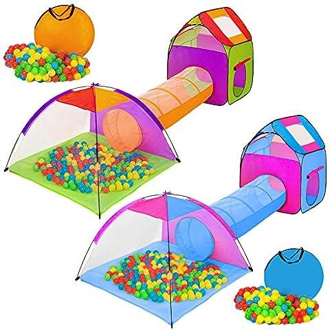 TecTake tienda infantil en forma de iglú con túnel + 200 bolas + bolsa - carpa de campaña para niños - disponible en diferentes colores - (multicolor 1 |