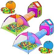Questa fantastica tenda per bambini con 200 palle e lo scivolo a tunnel offre ai vostri  bambini un grande divertimento. Questa tenda per bambini a 3 parti può essere utilizzata anche  per animali sia al coperto che all'aperto. I singoli elem...