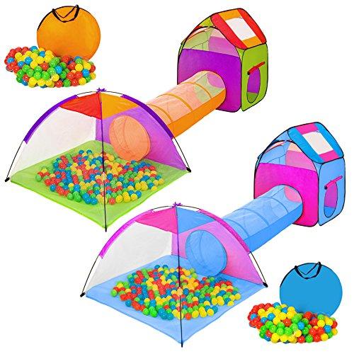 TecTake Tenda Igloo per bambini con tunnel + 200 palline + tenda tascabile - Tenda da gioco con palline per bambino - disponibile in diversi colori - (multicolore 1 | 401027)