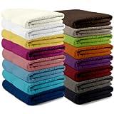 Packs zum Sparpreis - solide Frottiertücher - erhältlich in 16 modernen Farben und 8 verschiedenen Größen, 2er Pack Duschtücher (70 x 140 cm), schwarz