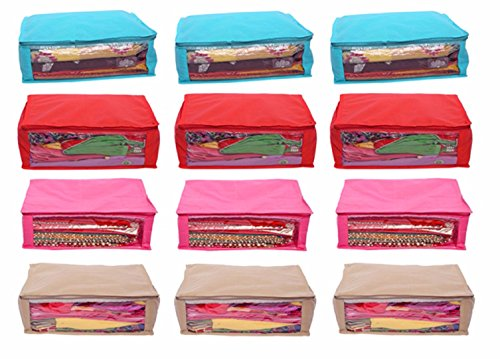 Kuber Industries Non Woven Saree Cover 12 Pcs Combo