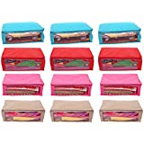 Kuber Industries Non Woven Saree Storage Covers (Set of 12)(17 x 7 x 14 IN)