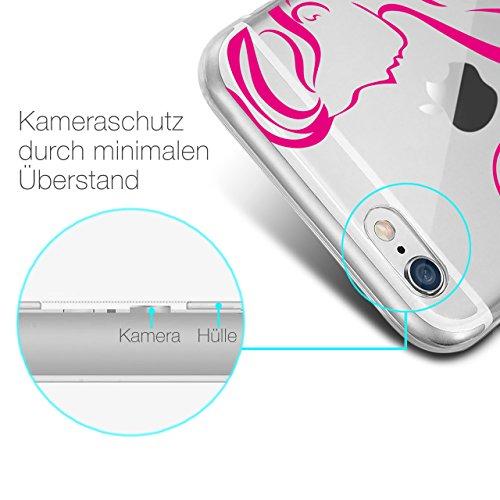 HULI Design Case Hülle für Apple iPhone 6 Plus / 6s Plus mit Rosen Muster - Handy Schutzhülle klar aus Silikon mit romantischen Blumen Romantik - Handyhülle durchsichtig mit Druck Strong Woman