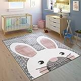 Paco Home Kinderteppich Kinderzimmer Konturenschnitt Niedlicher Hase Grau Creme Rosa, Grösse:80x150 cm