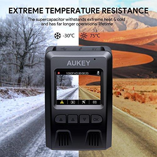 """51V4jPfCiUL - AUKEY Dashcam, Full HD 1080P Cámara para Coche 170° Grados de Amplio Ángulo con Detección De Movimiento, Visión Nocturna, G-Sensor, Loop de Grabación, 1.5"""" LCD Pantalla (DR02)"""